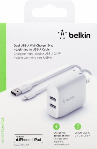 Belkin Dual USB-A Wall Charger for iPhone/iPad - White Perspective: front