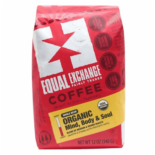 Equal Exchange  Organic Mind Body and Soul Whole Bean Coffee Perspective: front
