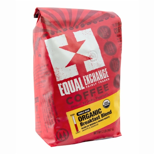 Equal Exchange Organic Breakfast Blend Whole Bean Coffee Perspective: front