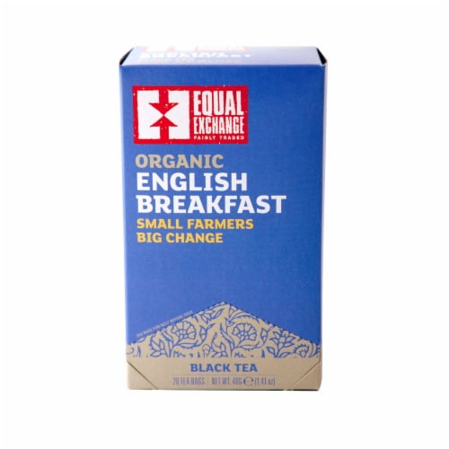 Equal Exchange Organic English Breakfast Black Tea Bags 20 Count Perspective: front