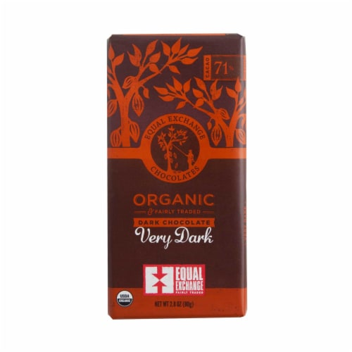 Equal Exchange Organic 71% Cacao Very Dark Chocolate Bar Perspective: front