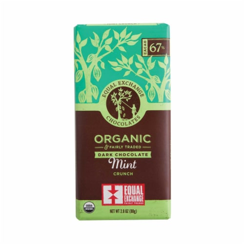 Equal Exchange Organic 67% Cacao Mint Crunch Dark Chocolate Bar Perspective: front