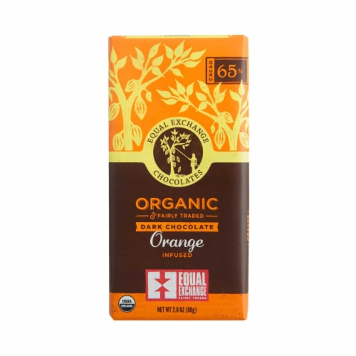 Equal Exchange Organic 65% Cacao Orange Infused Dark Chocolate Bar Perspective: front