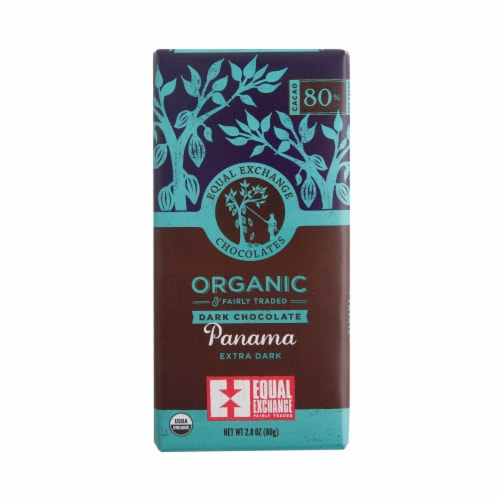 Equal Exchange Organic 80% Cacao Panama Extra Dark Chocolate Bar Perspective: front