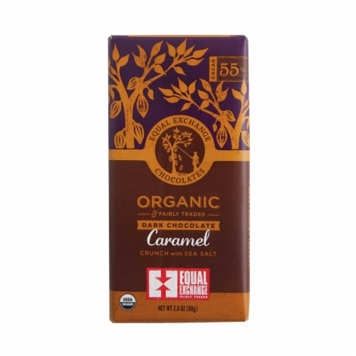 Equal Exchange Organic 55% Cacao Caramel Crunch with Sea Salt Dark Chocolate Bar Perspective: front