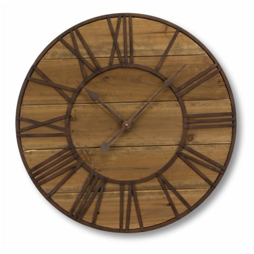 Round Roman Numeral Wall Clock 23.5 D Wood/Metal  (1 AA Batteries, Not Included) Perspective: front