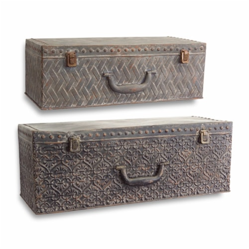 Suitcase Wall Shelf (Set of 2) 19.5 , 23.5 W Metal Perspective: front
