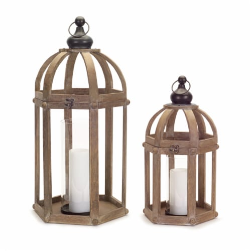 Lanterns (Set of 2) 21 H, 28 H Wood/Metal/Glass Perspective: front