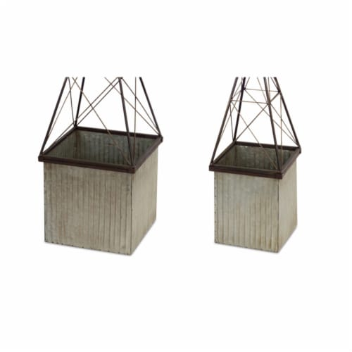 Melrose International 70259 10 & 11 in. Metal Planter, Tin & rustic - Set of 2 Perspective: front
