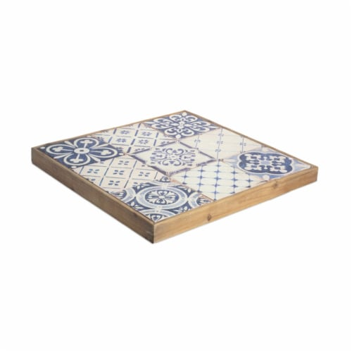 Melrose International 70310 18.5 in. Wood Decorative Tray, Blue & White Perspective: front