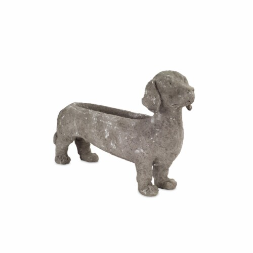 Melrose International 70363 10.5 in. Resin Dachshund Planter, Grey - Set of 2 Perspective: front