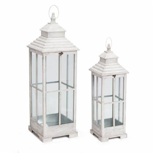 Melrose International 70481 27.5-38 in. Lantern Metal, Grey White - Set of 2 Perspective: front