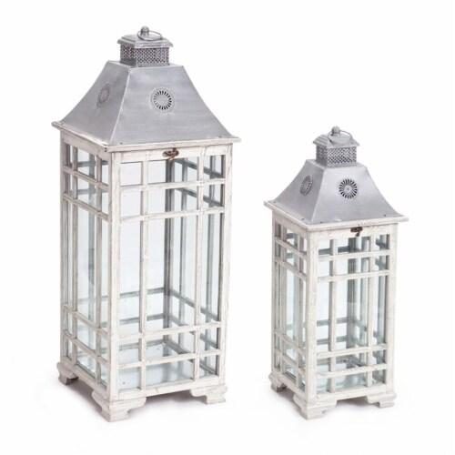 Melrose International 70482 24.5-33 in. Lantern Metal, Grey White - Set of 2 Perspective: front