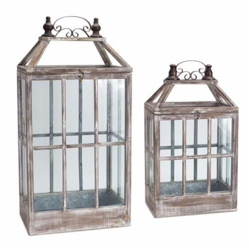Melrose International 70491 22.5-31.5 in. Lantern Wood & Metal, Brown with White - Set of 2 Perspective: front