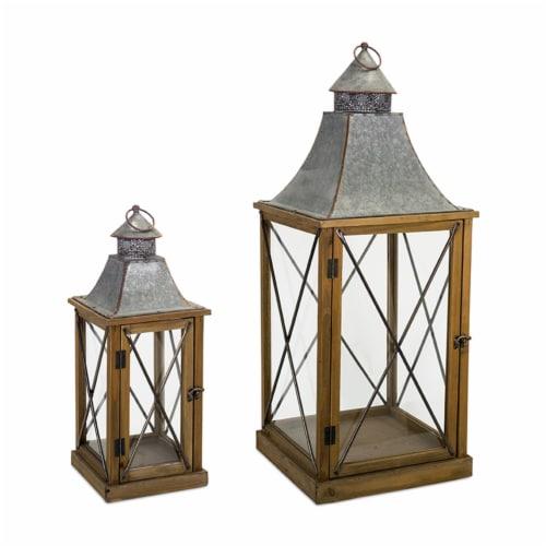 Melrose International 72153DS 22 x 33.5 in. Wood & Metal Lantern, Brown & Tin - Set of 2 Perspective: front