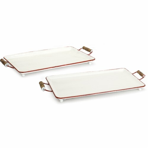 Melrose International 72198DS 23 x 20.5 in. Metal Tray, White & Red - Set of 2 Perspective: front