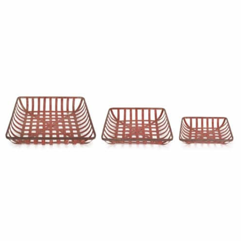 Melrose International 72471DS 13.25 x 15.75 x 18 in. Metal Tray, Red - Set of 3 Perspective: front