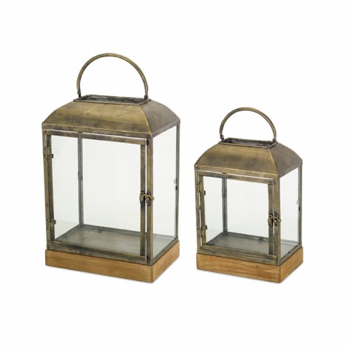 Melrose International 72507DS 13 x 16.25 in. Wood & Metal Lantern, Brown & Copper - Set of 2 Perspective: front