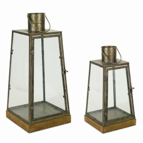 Melrose International 72508DS 16 x 21.5 in. Wood & Metal Lantern, Brown & Copper - Set of 2 Perspective: front