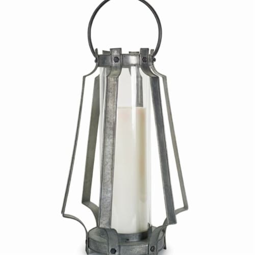 Melrose International 72530DS 19.5 in. Lantern, Metal & Glass - Grey Perspective: front