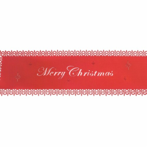 Melrose International 73049DS 38.5 in. Felt Merry Christmas Table Runner, Red - Set of 6 Perspective: front