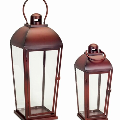 Melrose International 73619DS 17 x 23.5 in. Metal & Glass Lantern, Red - Set of 2 Perspective: front