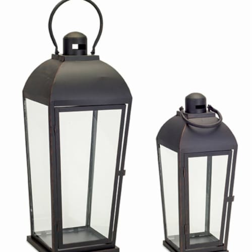 Melrose International 73620DS 17 x 23.5 in. Metal & Glass Lantern, Black - Set of 2 Perspective: front