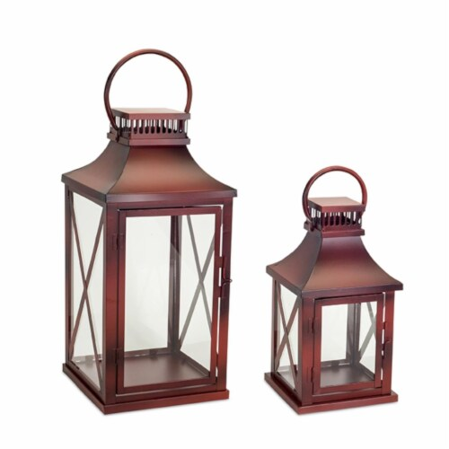 Melrose International 73621DS 14 x 20 in. Metal & Glass Lantern, Red - Set of 2 Perspective: front
