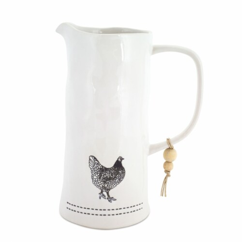 Chicken Pitcher (Set of 2) 7.25  x 9.5 H Stoneware Perspective: front