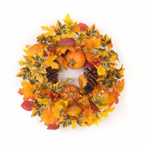 Pumpkin/Gourd/Fall Leaf Candle Ring 20.5 D Polyester (fits a 6  candle) Perspective: front