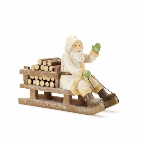 Santa on Sleigh with Firewood 12.75 L x 9 H Resin Perspective: front