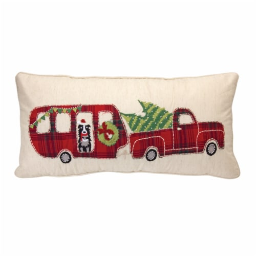 Truck and Camper Pillow 22 L x 9 H Cotton Perspective: front