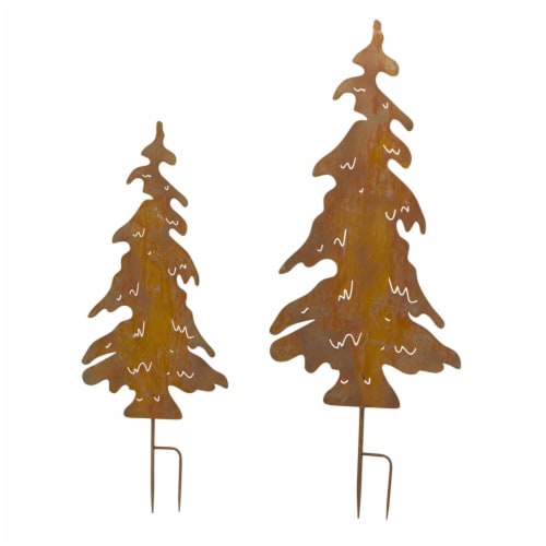 Tree Cut-Out Stake (Set of 2) 42.5 H, 54 H Iron Perspective: front