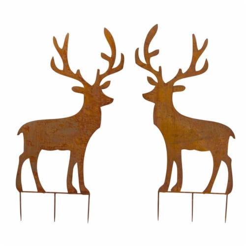 Deer Cut-Out Stake (Set of 2) 49 H Iron Perspective: front