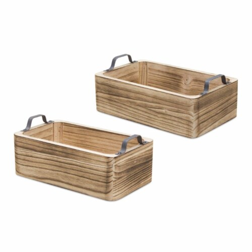 Tray (Set of 2) 13 L x 7.5 W x 4.75 H, 14.5 L x 9 W x 5.5 H Wood/Steel Perspective: front