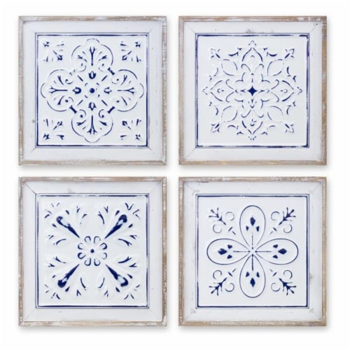 Ceiling Tile Plaque (Set of 4) 10.5 SQ Iron/Wood Perspective: front