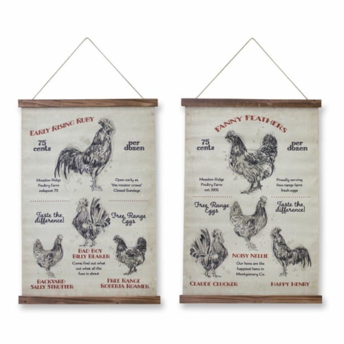 Chicken Banner (Set of 2) 18 L x 33.5 H Linen/Wood Perspective: front
