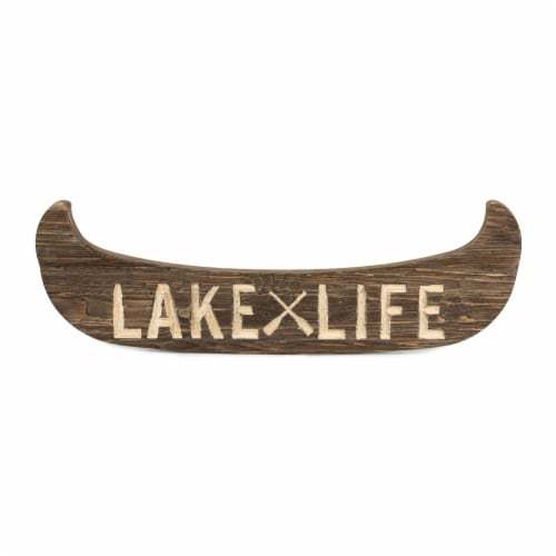 Lake Life Canoe Plaque 22 L x 7 H Wood/MDF Perspective: front