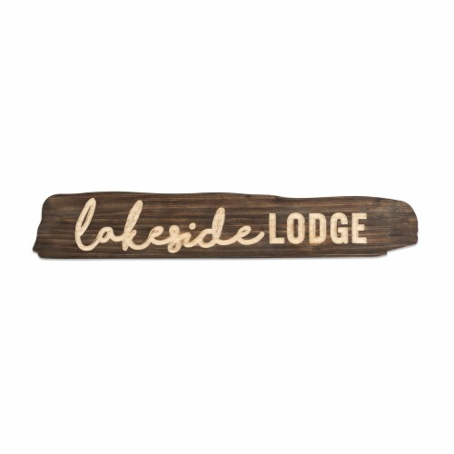 Lakeside Lodge Sign (Set of 2) 23 L x 4 H Wood Perspective: front