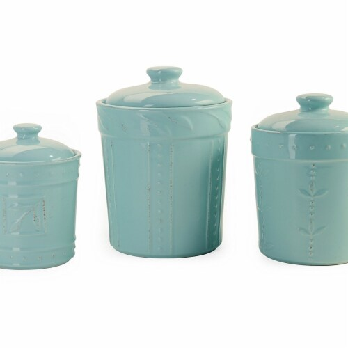 Sorrento Aqua Canisters, Set of 3 Perspective: front