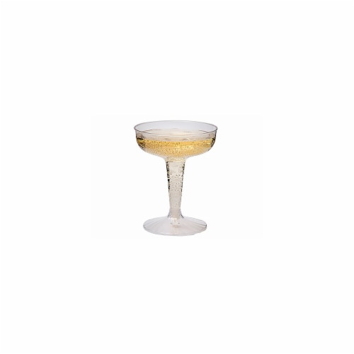 4 oz Plastic Champagne Glasses - Clear Construction, 2 Piece - 25 Per Pack Perspective: front