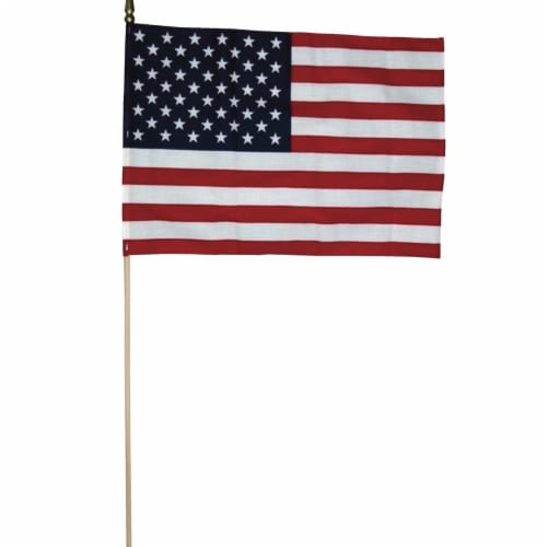 ood Staff, Gold Spear Tip US Flag, 12 x 18 in. Perspective: front