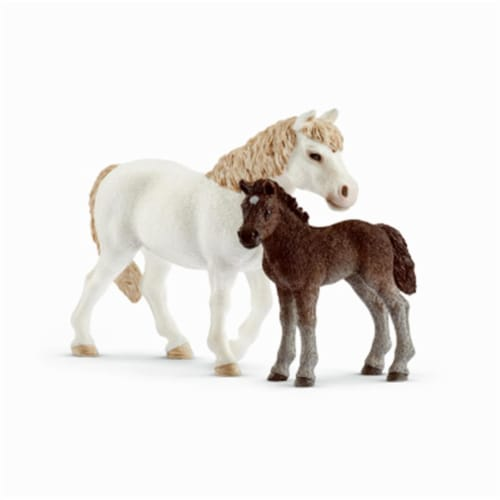 White Pony Mare & Brown Foal for Ages 3 & Up Perspective: front
