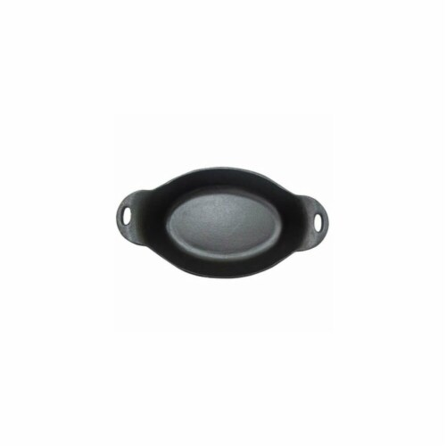 12.4 in. Grill Zone Cast Iron Oval Dish Perspective: front