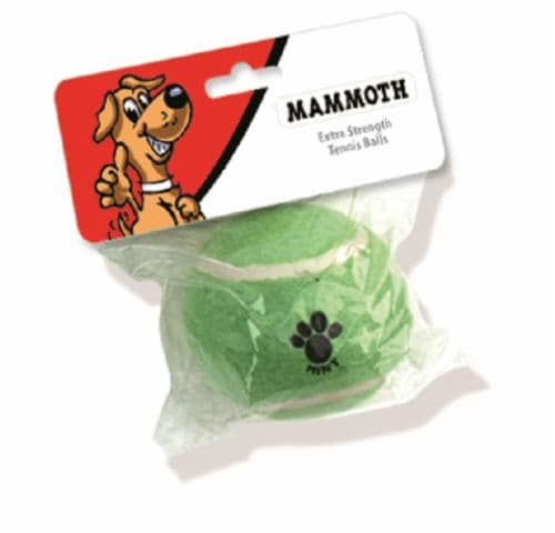 """Mammoth 3"""" Extra Strenght Tennis Ball Dog Toy Perspective: front"""