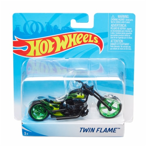 Mattel Hot Wheels® Twin Flame Motorcycle - Green/Black Perspective: front