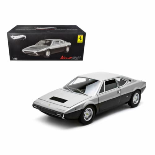 1973 Ferrari Dino 308 GT4 Silver/Black Elite Edition 1/18 Diecast Car Model by Hotwheels Perspective: front