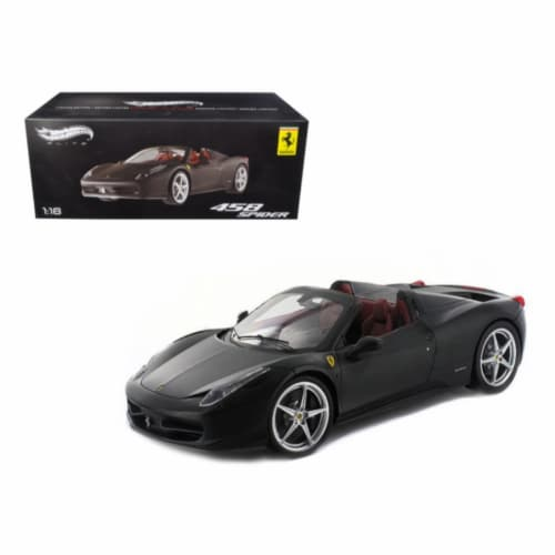 Ferrari 458 Italia Spider Matt Black Elite Edition 1/18 Diecast Car Model by Hotwheels Perspective: front