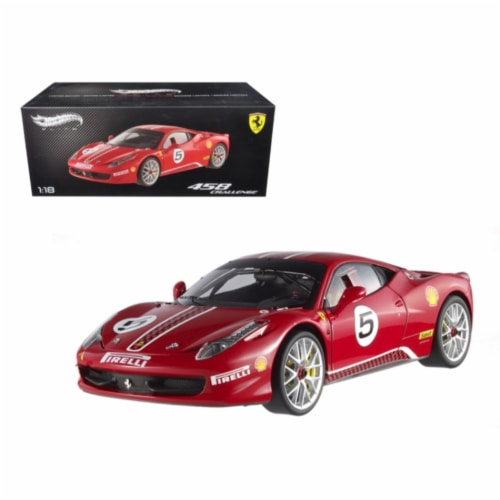 Ferrari 458 Italia Challenge Red #5 Elite Edition Limited Edition 1/18 Diecast Model Car Perspective: front