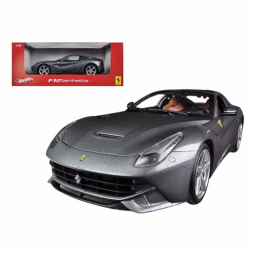 Hot wheels BCJ74 Ferrari F12 Berlinetta Grey 1-18 Diecast Car Model Perspective: front